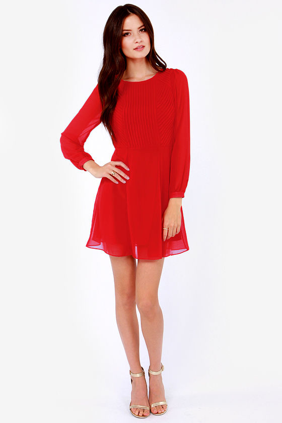 Cutie Garland Long Sleeve Red Dress at Lulus.com!
