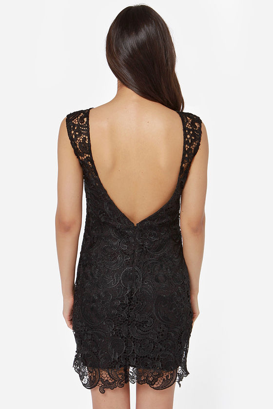 Demure Darling Backless Black Lace Dress at Lulus.com!