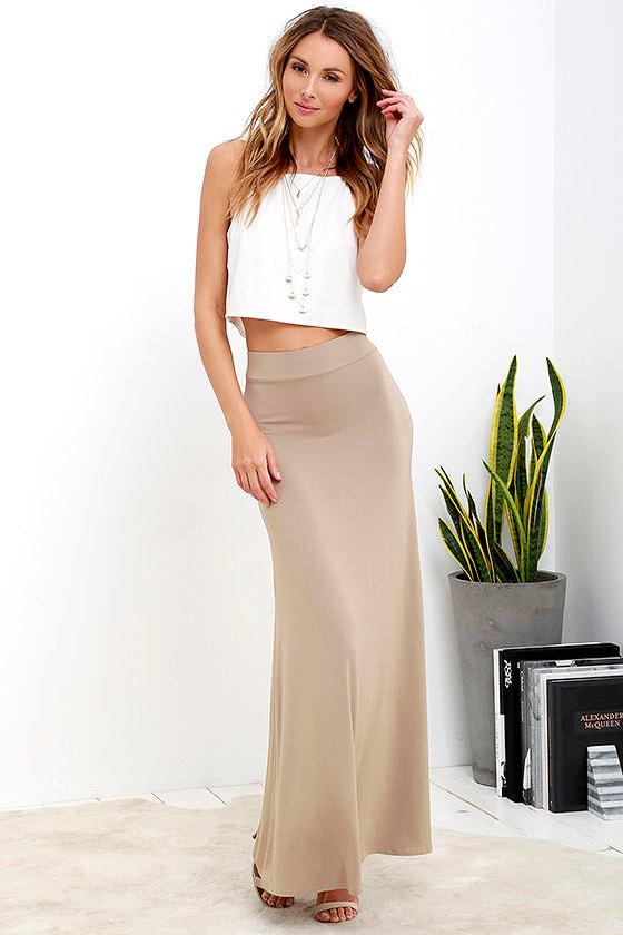 cute light brown skirt maxi skirt knit skirt 3800