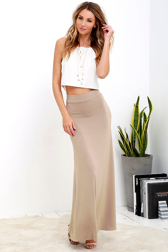 light brown skirt maxi skirt knit skirt 38 00