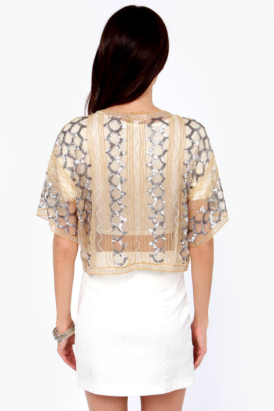 Chaise Lounge About Gold Sequin Kimono Top at Lulus.com!