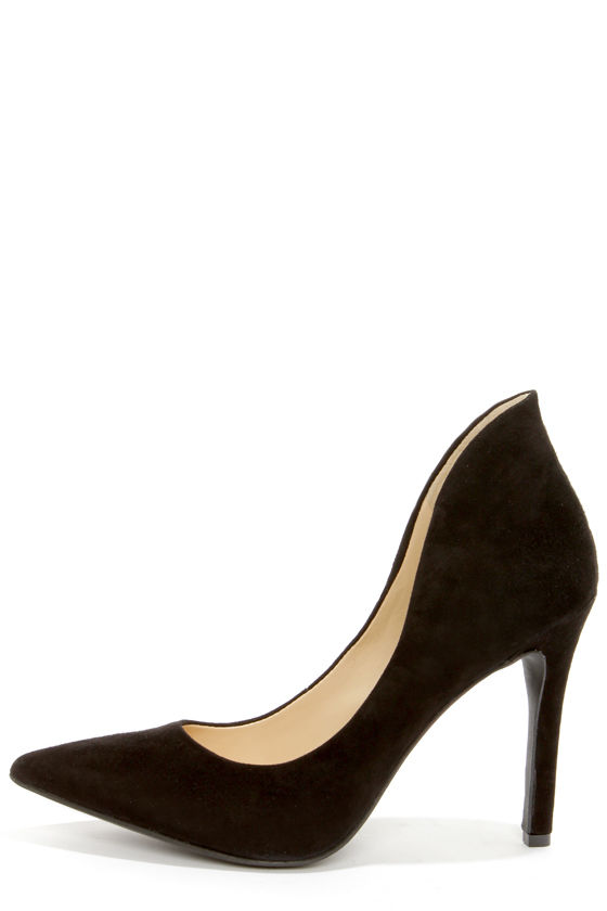 Sexy Black Heels - Suede Heels - High Heels - $89.00