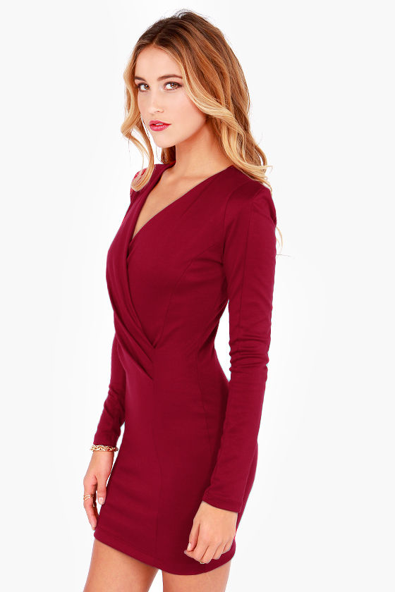 Foreign Film Burgundy Dress at Lulus.com!
