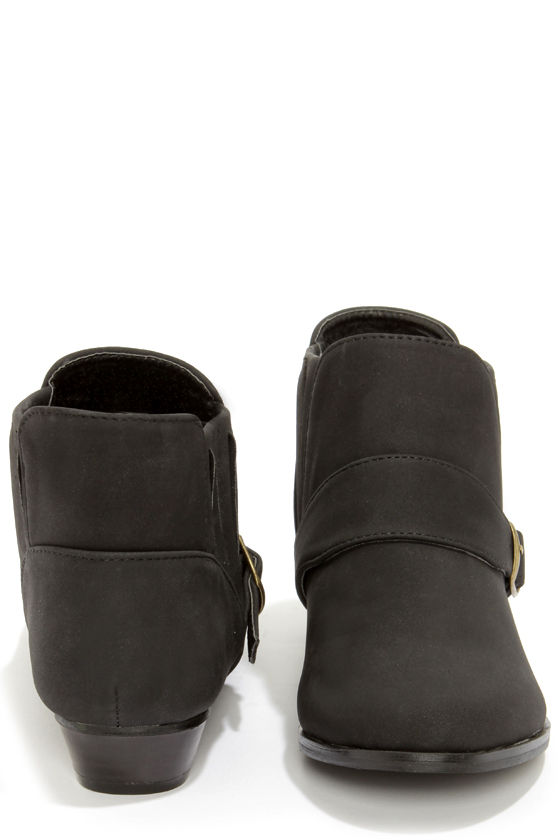 Paco 1 Black Belted Ankle Boots at Lulus.com!