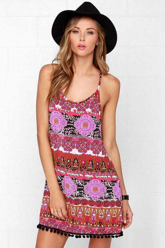 Lucy Love Pool Party Dress - Fuchsia Dress - Print Dress - $49.00