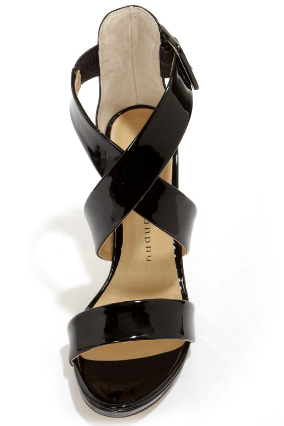 Chinese Laundry Blackjack Black Patent Strappy Heels at Lulus.com!
