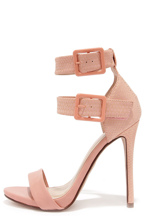 Sexy Peach Heels - Ankle Strap Heels - Dress Sandals - $28.00