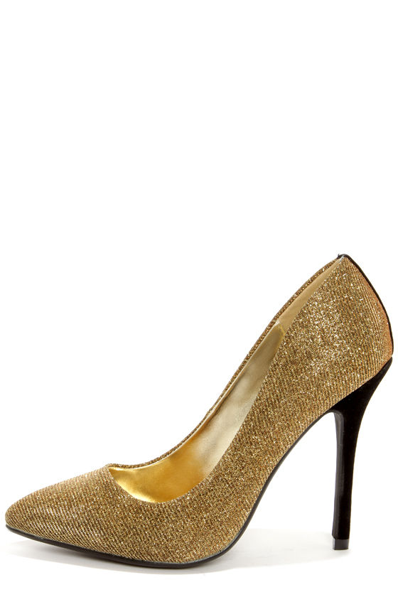 Cute Gold Shoes - Glitter Shoes - High Heels - Gold Pumps - $31.00