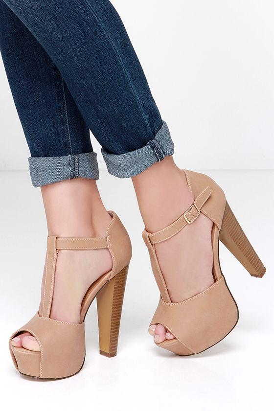 Cute Beige Heels - T-Strap Heels - Peep Toe Heels - Platform Heels ...