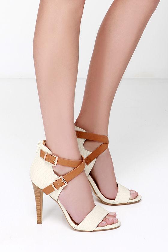 Cute Ankle Strap Heels - Ivory Heels - Dress Sandals - $29.00