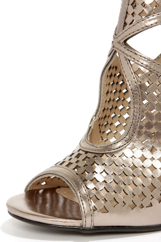 Anne Michelle Rapture 50 Pewter Metallic Cutout Ankle Booties at Lulus.com!