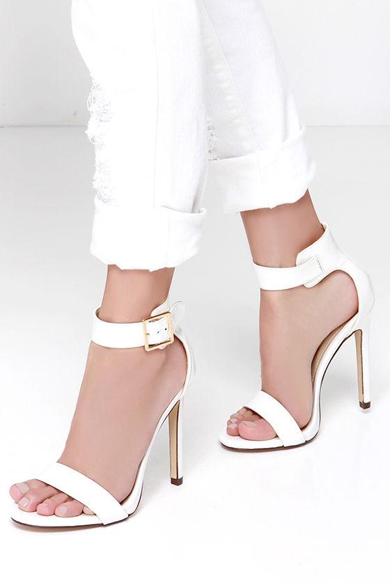 Sexy White Heels - Single Sole Heels - Ankle Strap Heels -  27.00