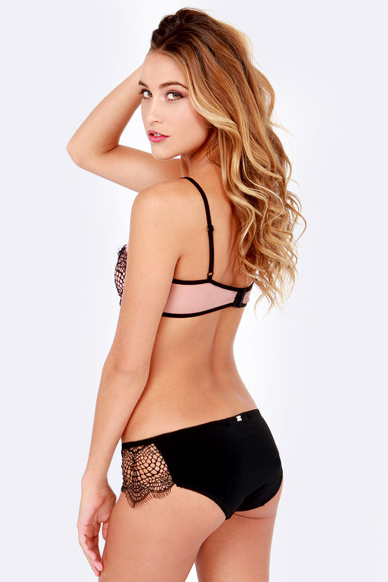 For Love & Lemons Bat Your Lashes Black Cheeky Panty at Lulus.com!