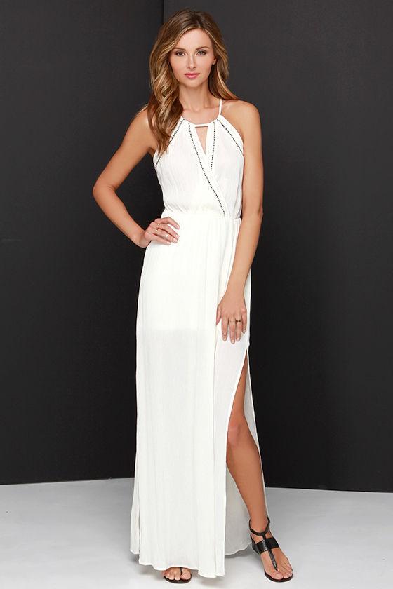 - Pretty Cream Dress - Maxi Dress - Halter Dress - Boho Dress - $49.00
