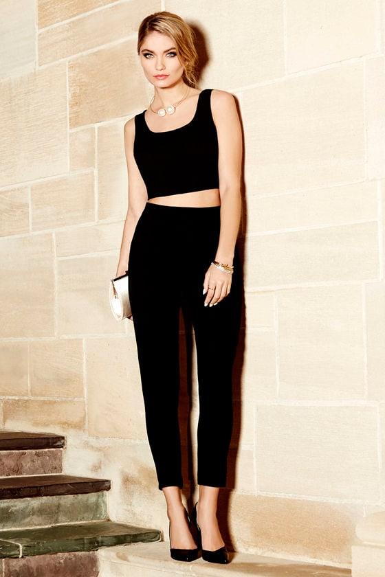 e326d10f9237 Two-Piece Set - Black Outfit - Pants Set - $76.00