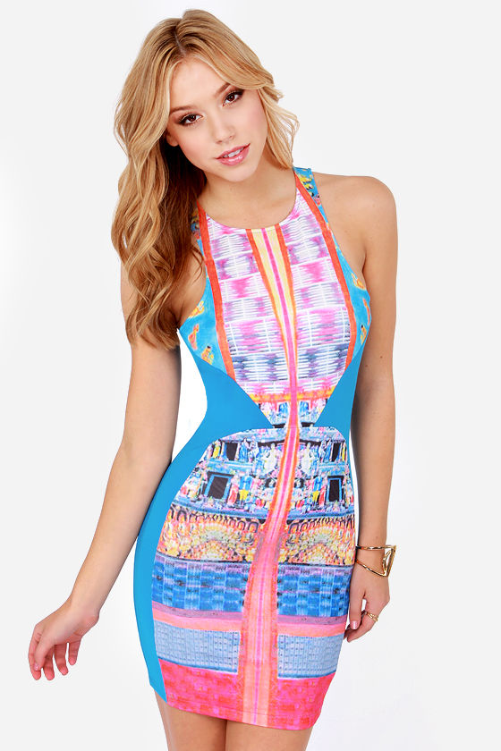 Sexy Bodycon Dress - Blue Dress - Print Dress - Neon Dress - $40.00