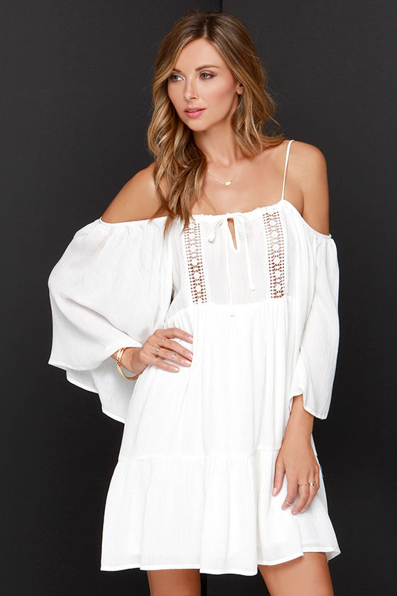 Glamorous You're a Doll Ivory Off-the-Shoulder Dress at Lulus.com!