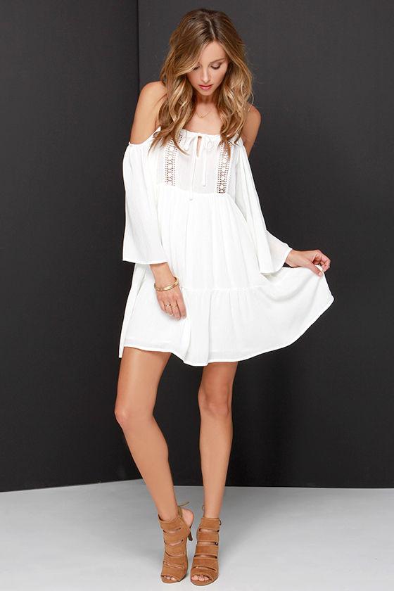 Lovely Ivory Dress - Off-the-Shoulder Dress - Babydoll Dress -  61.00 91238717b
