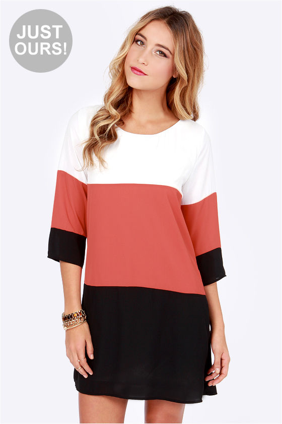 LULUS Exclusive Citrus Grove Brick Red and Black Shift Dress at Lulus.com!