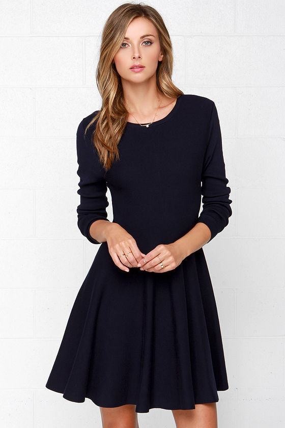Cute Navy Blue Dress - Sweater Dress - Long Sleeve Dress - $75.00