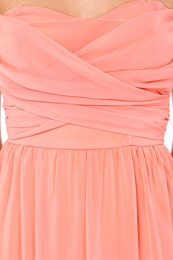 LULUS Exclusive Slow Dance Strapless Bright Peach Maxi Dress at Lulus.com!