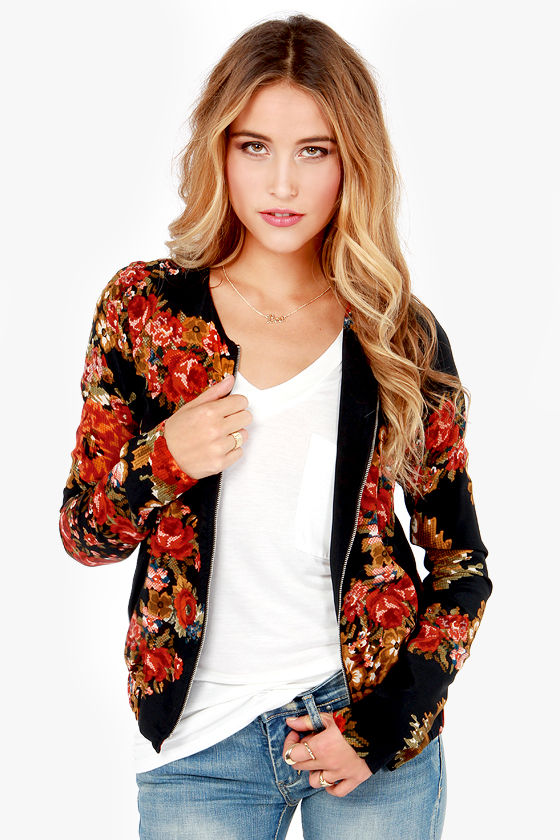 884c357f596 Cute Black Jacket - Floral Print Jacket - Bomber Jacket - Silk Jacket -   93.00