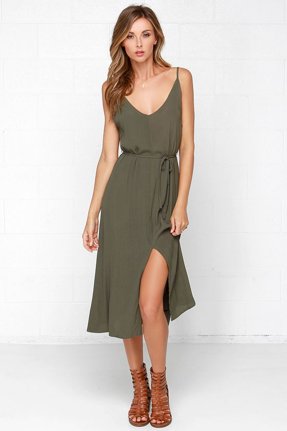 cd585493d2b7 Cute Olive Green Dress - Sleeveless Dress - Midi Dress -  57.00
