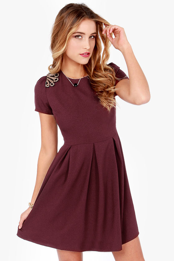 Pretty Beaded Dress - Burgundy Dress - Short Sleeve Dress - $65.00