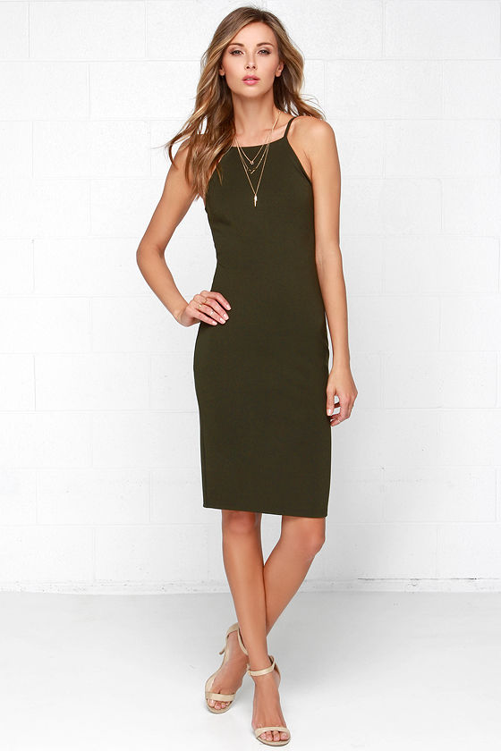 Chic Olive Green Dress - Bodycon Dress - Midi Dress - $49.00