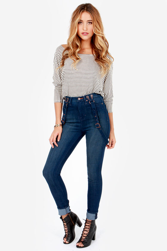 Dittos Santana Dark Wash High Rise Skinny Suspender Jeans at Lulus.com!
