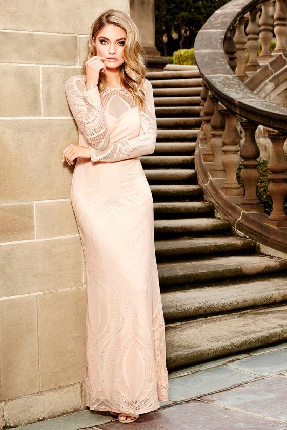 a3212ee7c8e3 Lovely Peach Dress - Lace Dress - Long Sleeve Dress - Maxi Dress ...