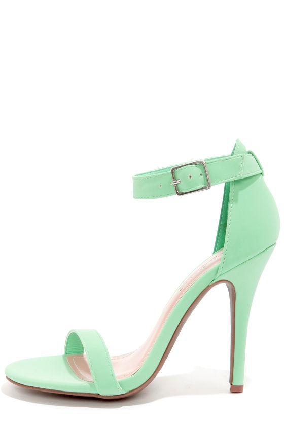 Cute Mint Green Shoes - Single Strap Heels - Ankle Strap Heels ...