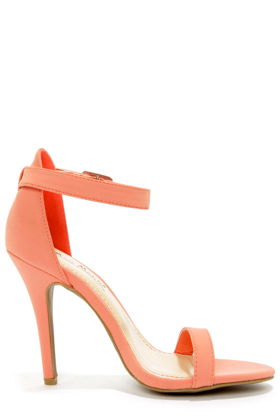 Anne Michelle Enzo 01 Melon Coral Single Strap Heels at Lulus.com!
