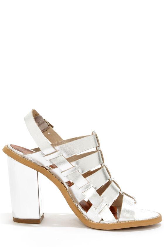 Sixtyseven 75936 Larissa Vachetta Silver High Heel Sandals at Lulus.com!