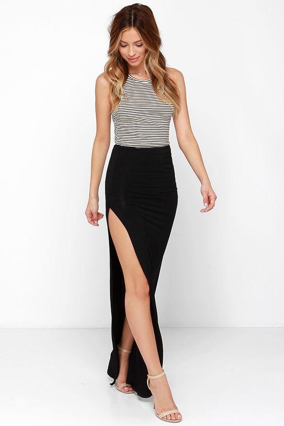 Sexy Black Skirt - Maxi Skirt - Slit Skirt - $41.00