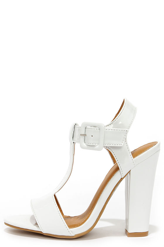 d140e423427 It's Your Gloss White Patent T Strap High Heel Sandals