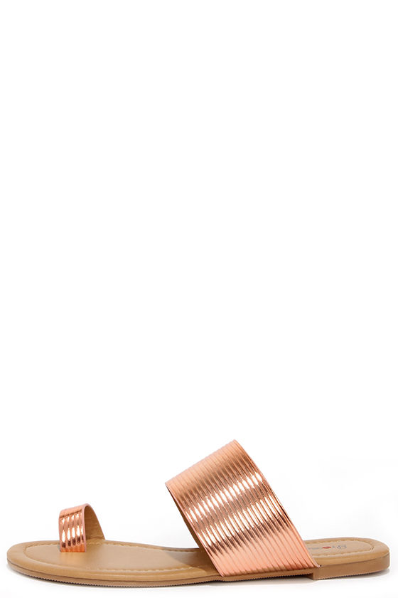 3fbcbc4029a17c Cute Rose Gold Sandals - Flat Sandals -  21.00