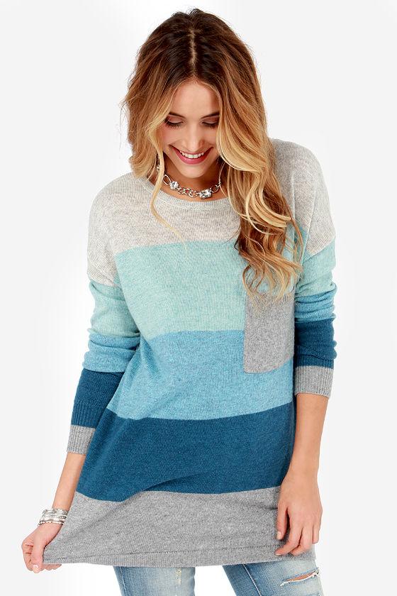 Cozy Oversized Sweater - Color Block Sweater - Blue Sweater - $60.00