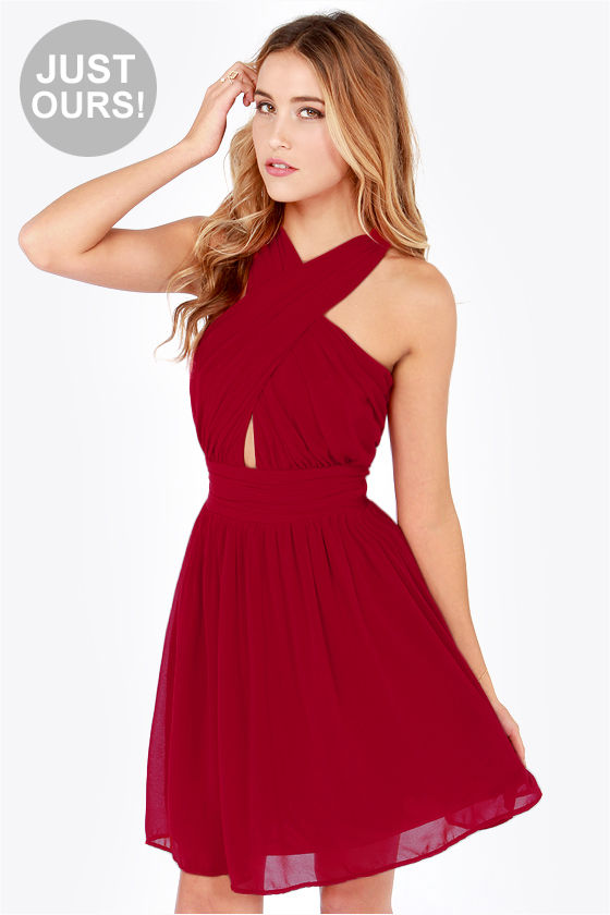 Sexy Red Dress - Halter Dress - Chiffon Dress - $47.00