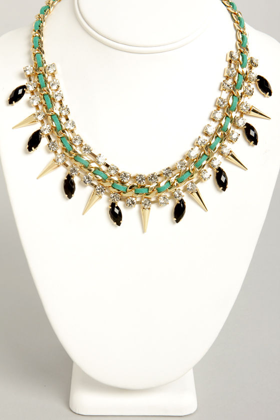 Sugar and Spikes Green and Black Necklace at Lulus.com!