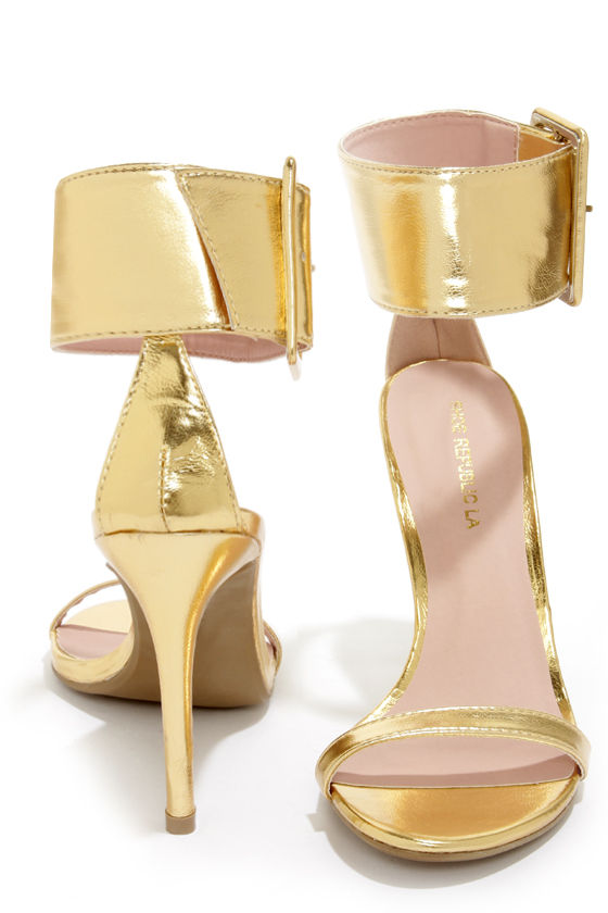 Cute Gold Shoes - Single Strap Heels - Ankle Strap Heels - $35.00