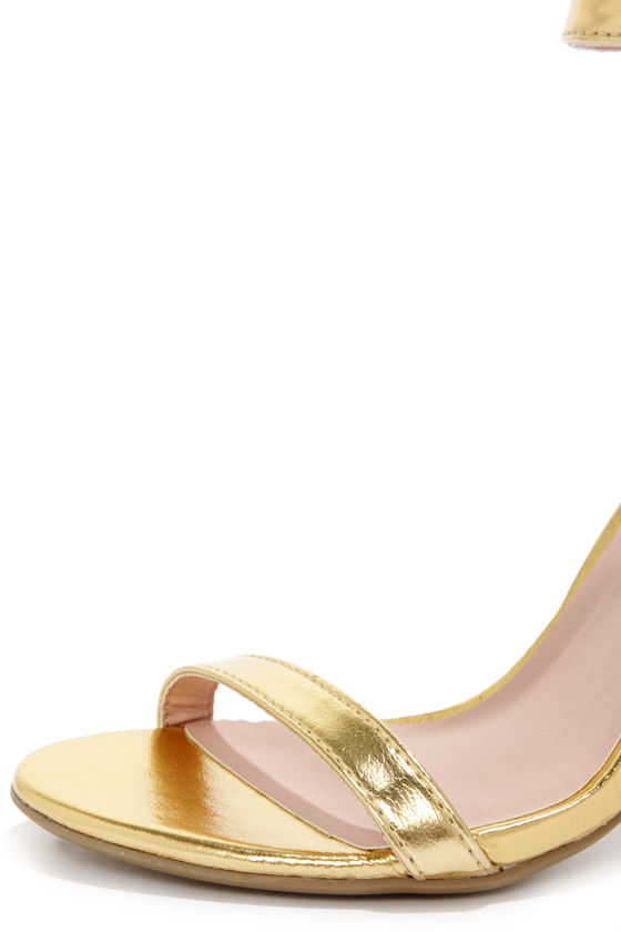 Shoe Republic LA Gayla Gold Single Strap Heels at Lulus.com!