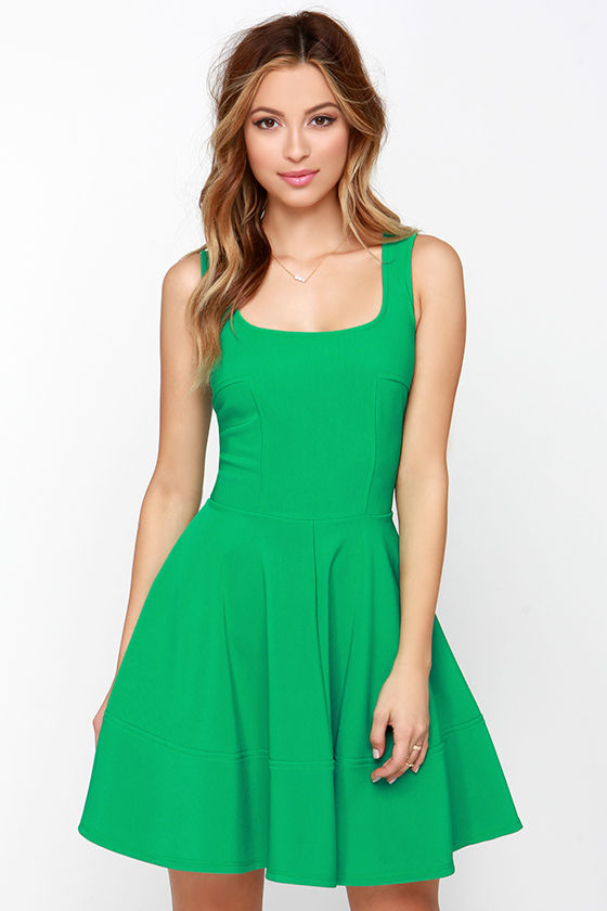 Pretty Green Dress - Skater Dress - $42.00