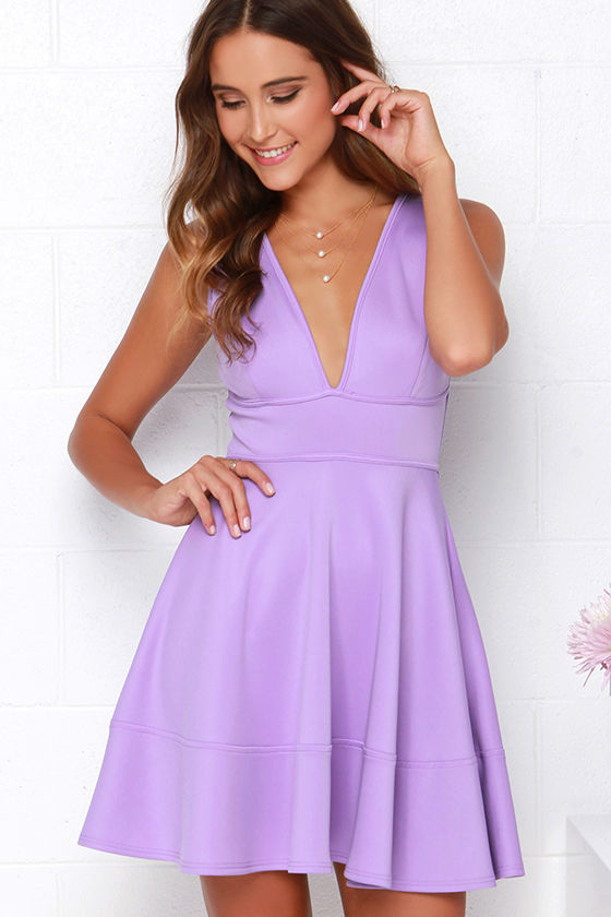 Cute Lavender Dress Skater Dress Sleeveless Dress 40 00