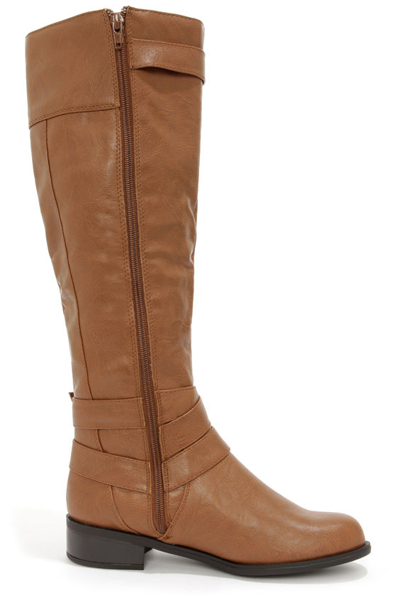 Soda Doric Cognac and Gold Knee-High Riding Boots at Lulus.com!
