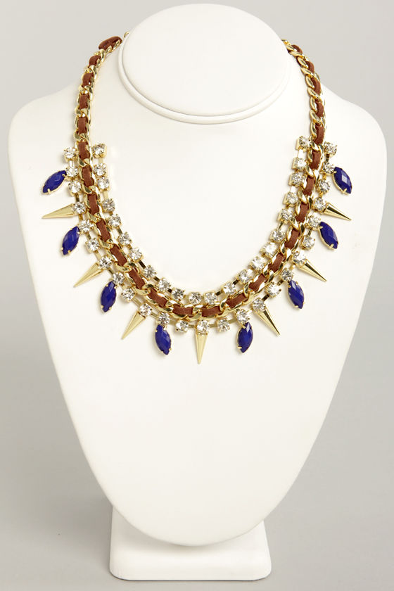 Sugar and Spikes Brown and Blue Necklace at Lulus.com!