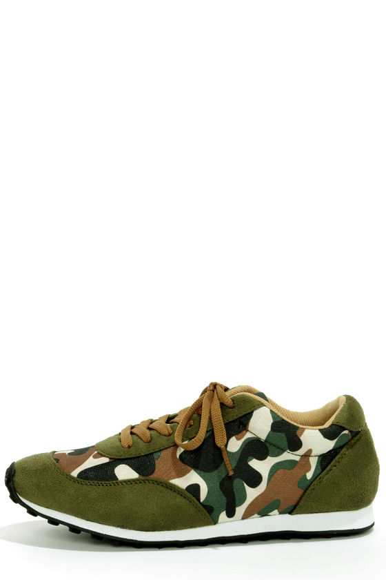 58154b32959fd Cute Green Sneakers - Camo Print Shoes - Lace-Up Sneakers - $34.00