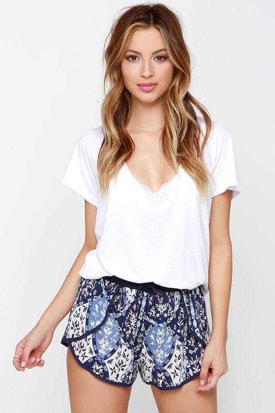 White Crow Solar Shorts - Navy Blue Print Shorts - $49.00