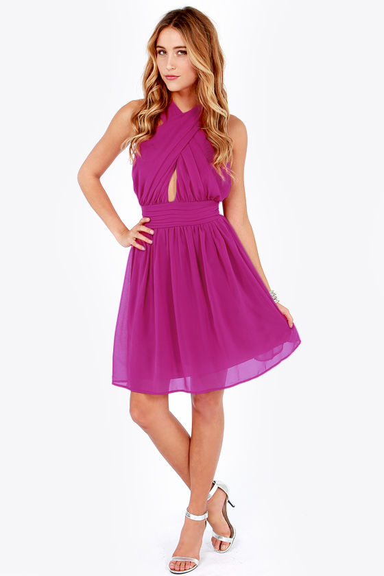 LULUS Exclusive This Twist, This Twist Magenta Halter Dress at Lulus.com!