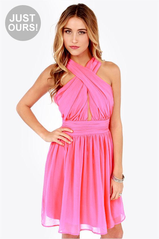 Sexy Pink Dress - Halter Dress - Chiffon Dress - Hot Pink Dress ...